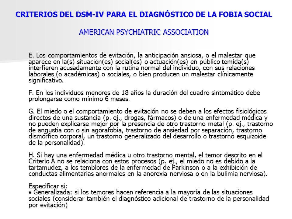 CRITERIOS DEL DSM-IV PARA EL DIAGNÓSTICO DE LA FOBIA SOCIAL AMERICAN PSYCHIATRIC ASSOCIATION E. Los comportamientos de evitación, la anticipación ansi