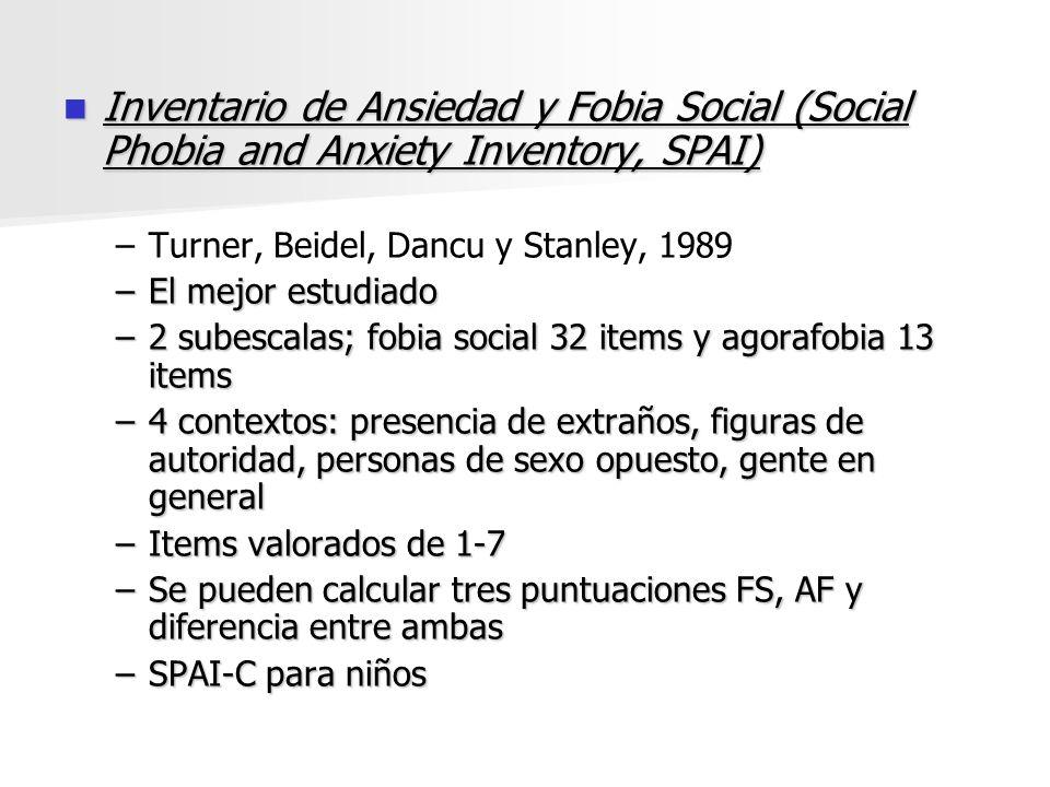 Inventario de Ansiedad y Fobia Social (Social Phobia and Anxiety Inventory, SPAI) Inventario de Ansiedad y Fobia Social (Social Phobia and Anxiety Inv