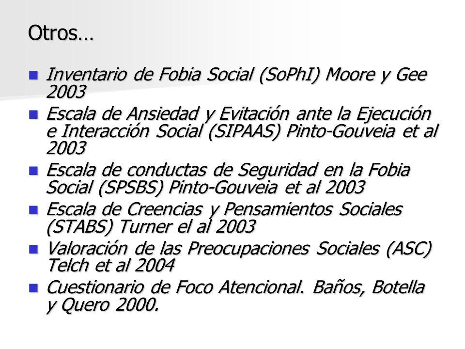 Otros… Inventario de Fobia Social (SoPhI) Moore y Gee 2003 Inventario de Fobia Social (SoPhI) Moore y Gee 2003 Escala de Ansiedad y Evitación ante la