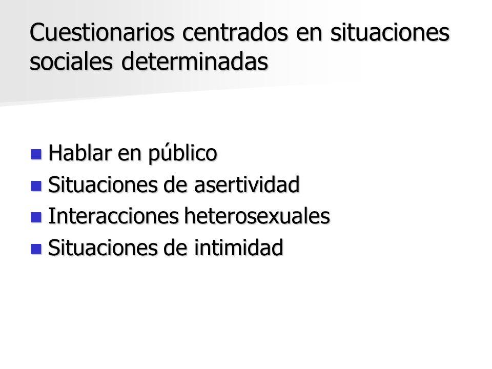 Cuestionarios centrados en situaciones sociales determinadas Hablar en público Hablar en público Situaciones de asertividad Situaciones de asertividad
