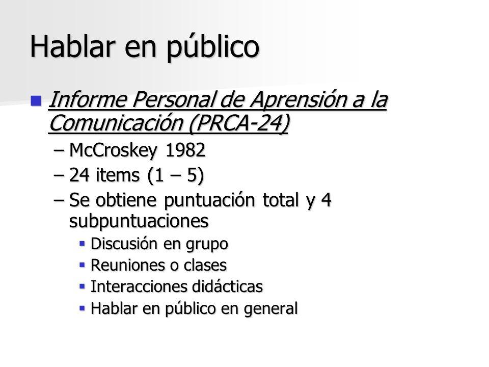 Hablar en público Informe Personal de Aprensión a la Comunicación (PRCA-24) Informe Personal de Aprensión a la Comunicación (PRCA-24) –McCroskey 1982