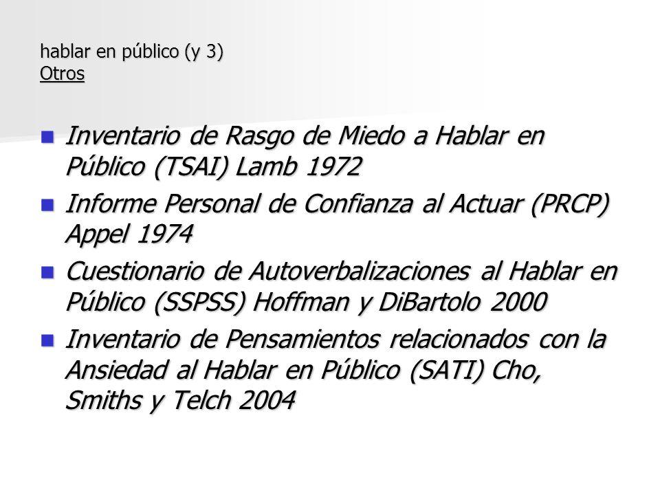 Inventario de Rasgo de Miedo a Hablar en Público (TSAI) Lamb 1972 Inventario de Rasgo de Miedo a Hablar en Público (TSAI) Lamb 1972 Informe Personal d