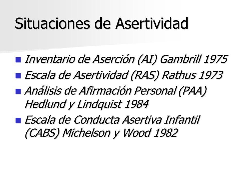 Situaciones de Asertividad Inventario de Aserción (AI) Gambrill 1975 Inventario de Aserción (AI) Gambrill 1975 Escala de Asertividad (RAS) Rathus 1973