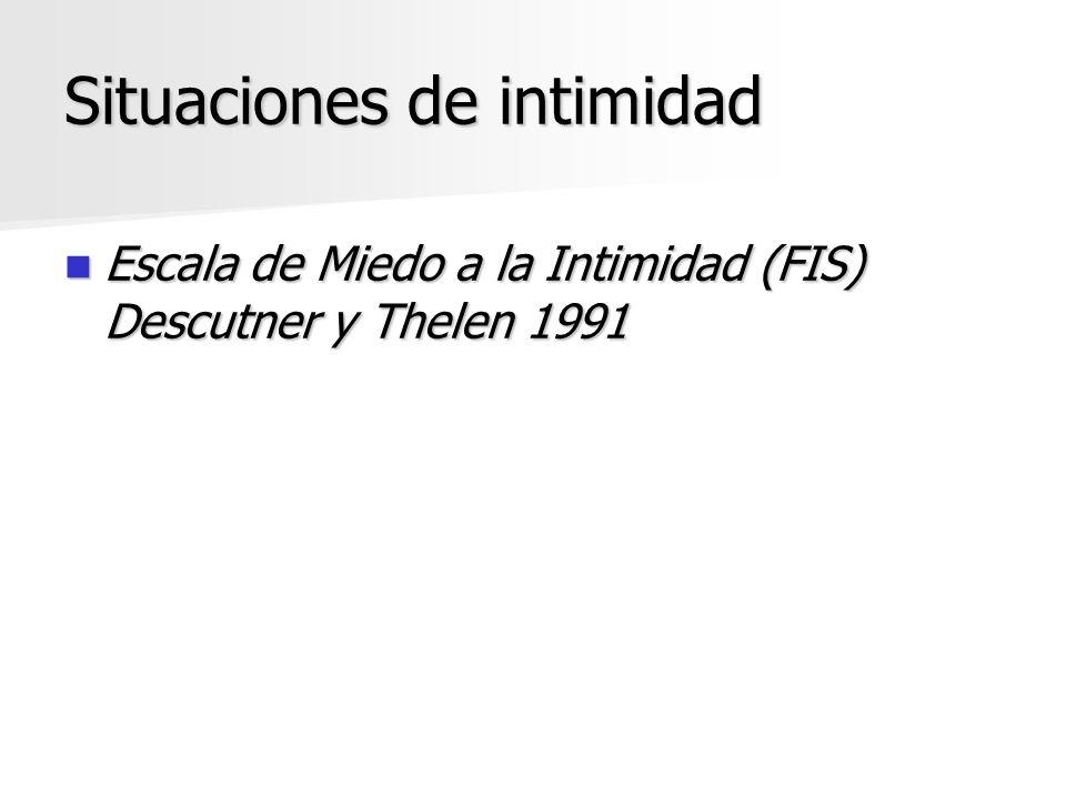 Situaciones de intimidad Escala de Miedo a la Intimidad (FIS) Descutner y Thelen 1991 Escala de Miedo a la Intimidad (FIS) Descutner y Thelen 1991