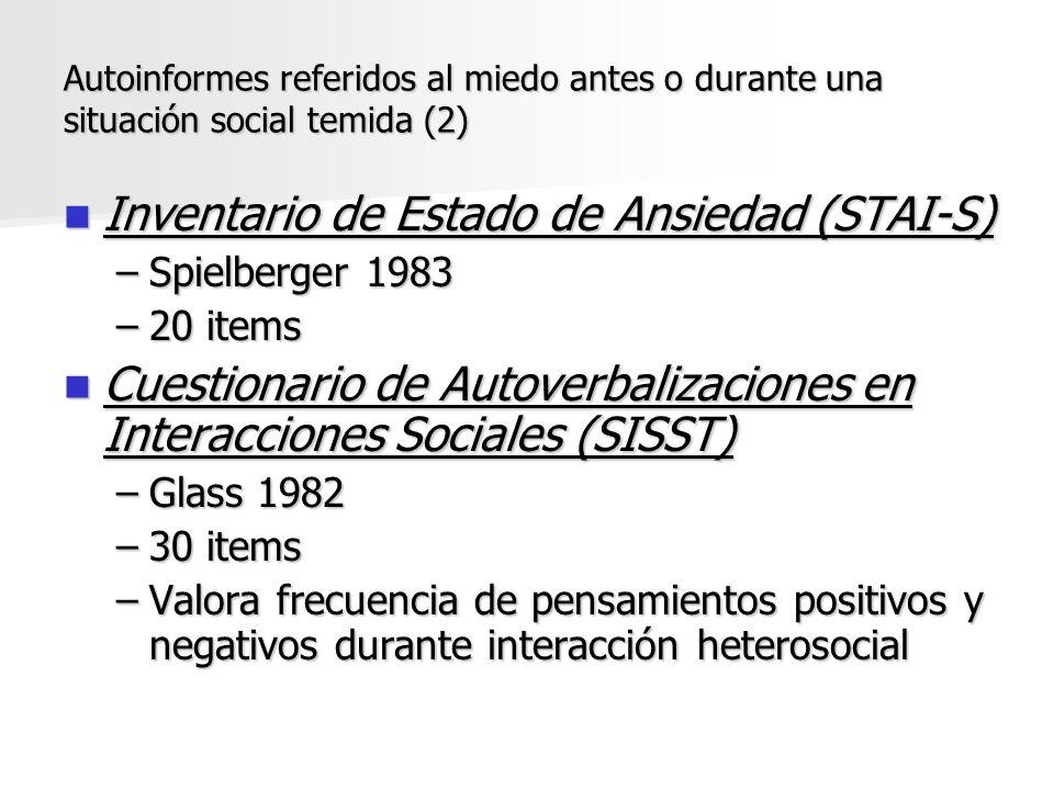 Inventario de Estado de Ansiedad (STAI-S) Inventario de Estado de Ansiedad (STAI-S) –Spielberger 1983 –20 items Cuestionario de Autoverbalizaciones en