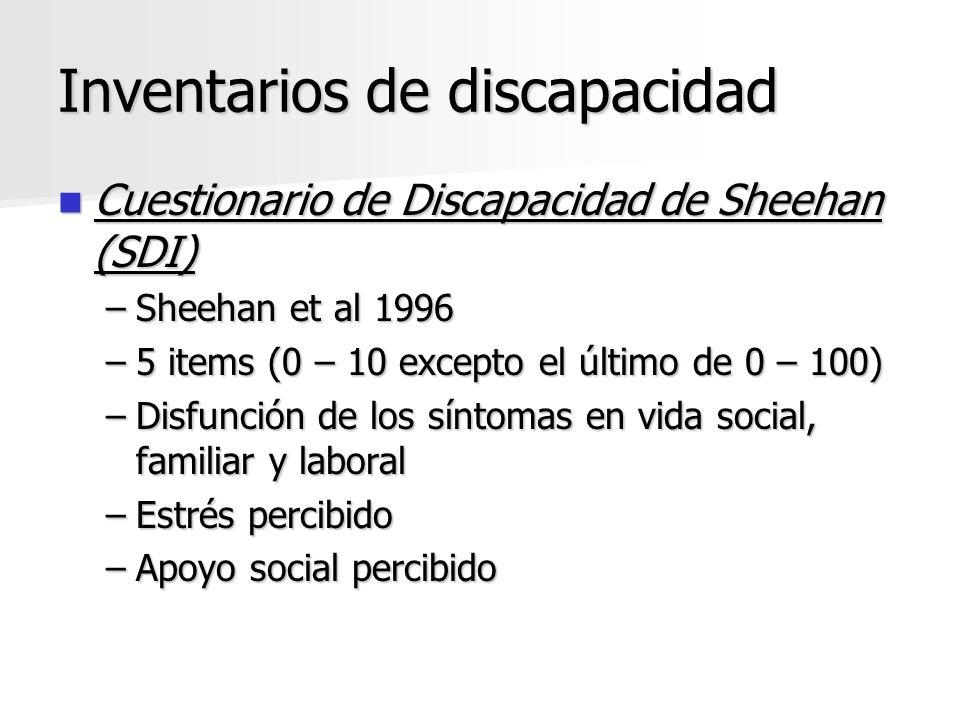 Inventarios de discapacidad Cuestionario de Discapacidad de Sheehan (SDI) Cuestionario de Discapacidad de Sheehan (SDI) –Sheehan et al 1996 –5 items (