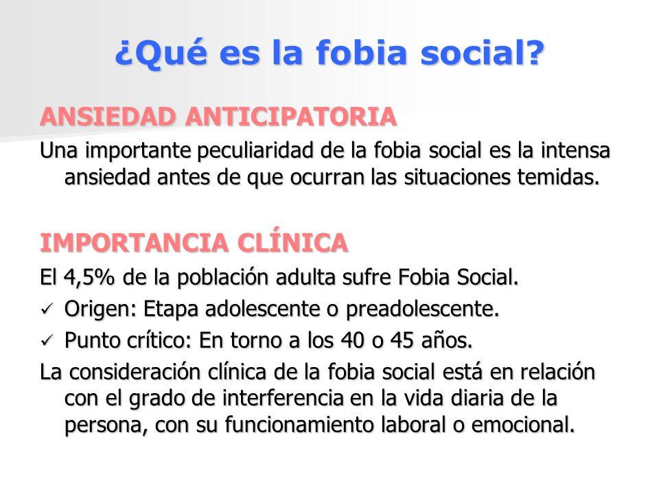 ¿Qué es la fobia social? ANSIEDAD ANTICIPATORIA Una importante peculiaridad de la fobia social es la intensa ansiedad antes de que ocurran las situaci
