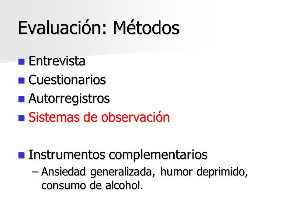 Evaluación: Métodos Entrevista Entrevista Cuestionarios Cuestionarios Autorregistros Autorregistros Sistemas de observación Sistemas de observación In
