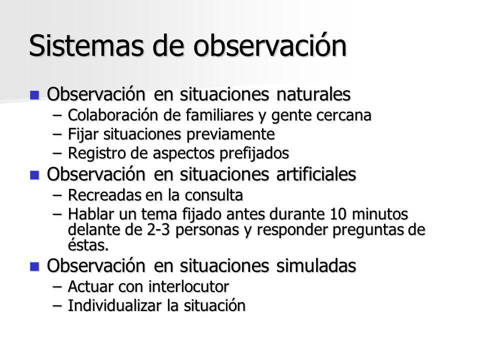 Sistemas de observación Observación en situaciones naturales Observación en situaciones naturales –Colaboración de familiares y gente cercana –Fijar s