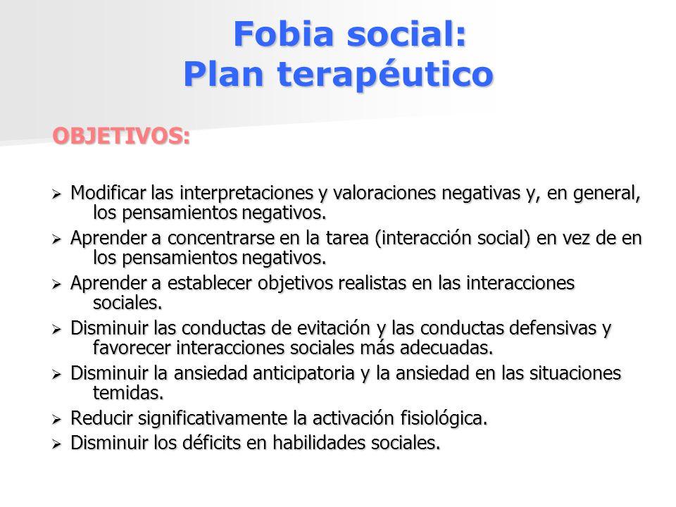 Fobia social: Plan terapéutico Fobia social: Plan terapéuticoOBJETIVOS: Modificar las interpretaciones y valoraciones negativas y, en general, los pen