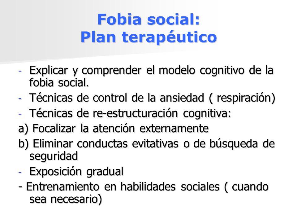 Fobia social: Plan terapéutico - Explicar y comprender el modelo cognitivo de la fobia social. - Técnicas de control de la ansiedad ( respiración) - T