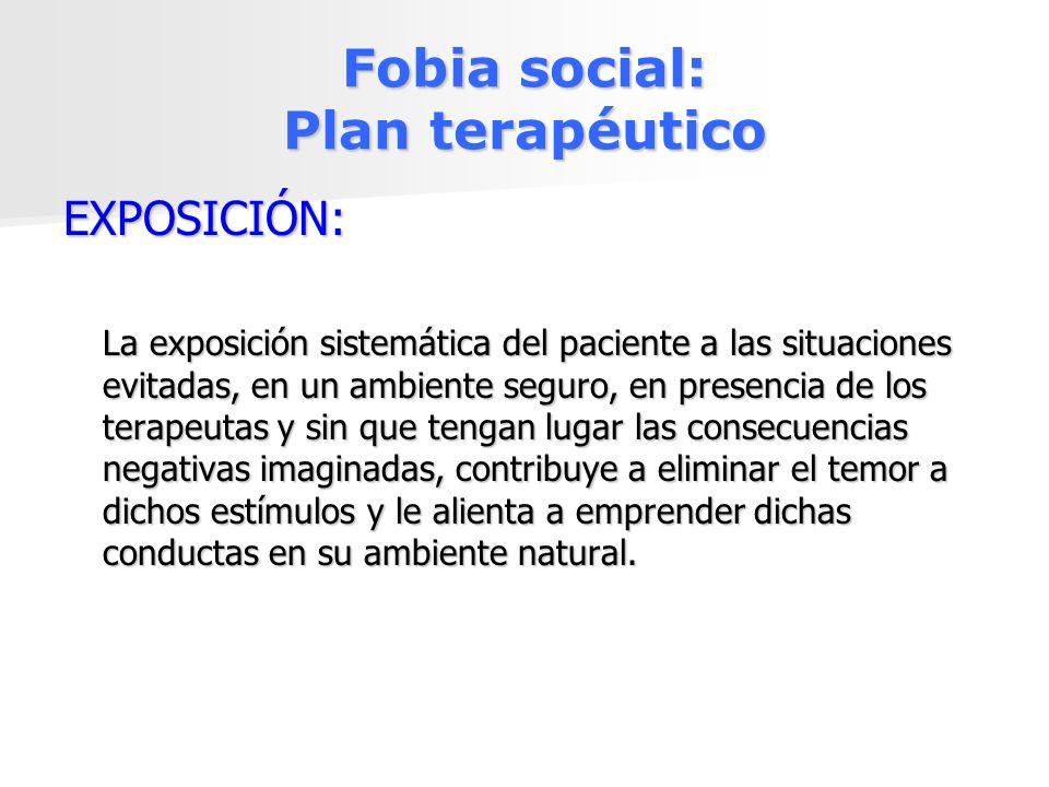Fobia social: Plan terapéutico EXPOSICIÓN: La exposición sistemática del paciente a las situaciones evitadas, en un ambiente seguro, en presencia de l