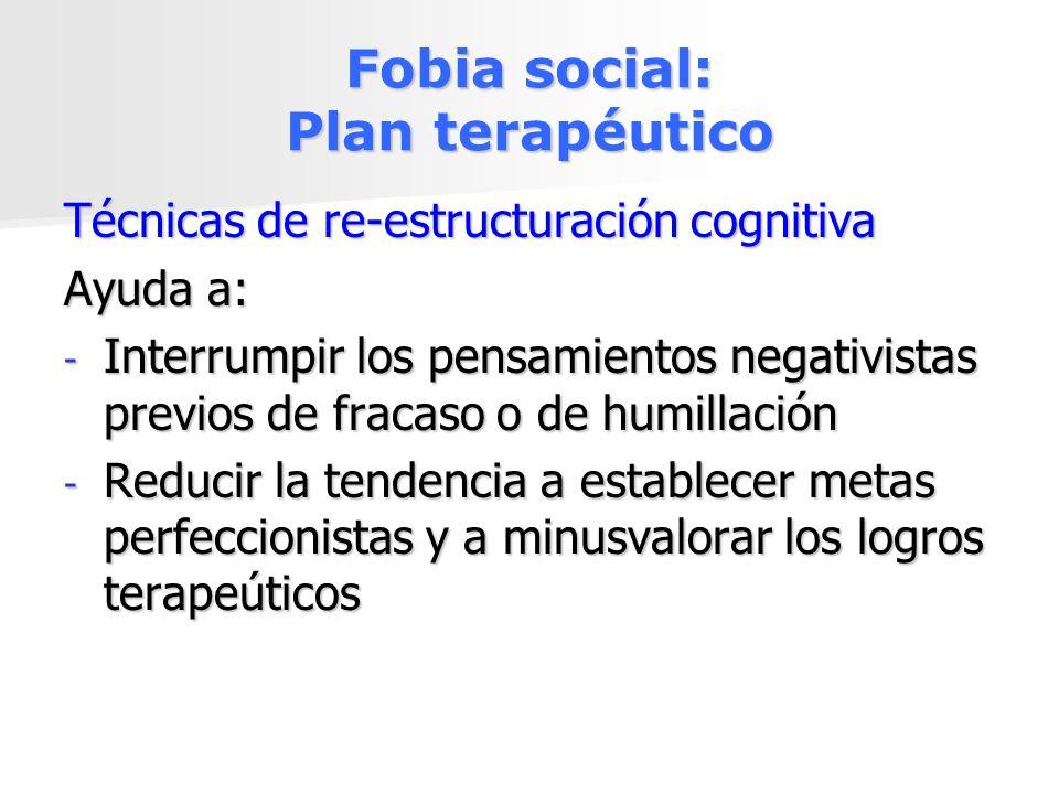 Fobia social: Plan terapéutico Técnicas de re-estructuración cognitiva Ayuda a: - Interrumpir los pensamientos negativistas previos de fracaso o de hu