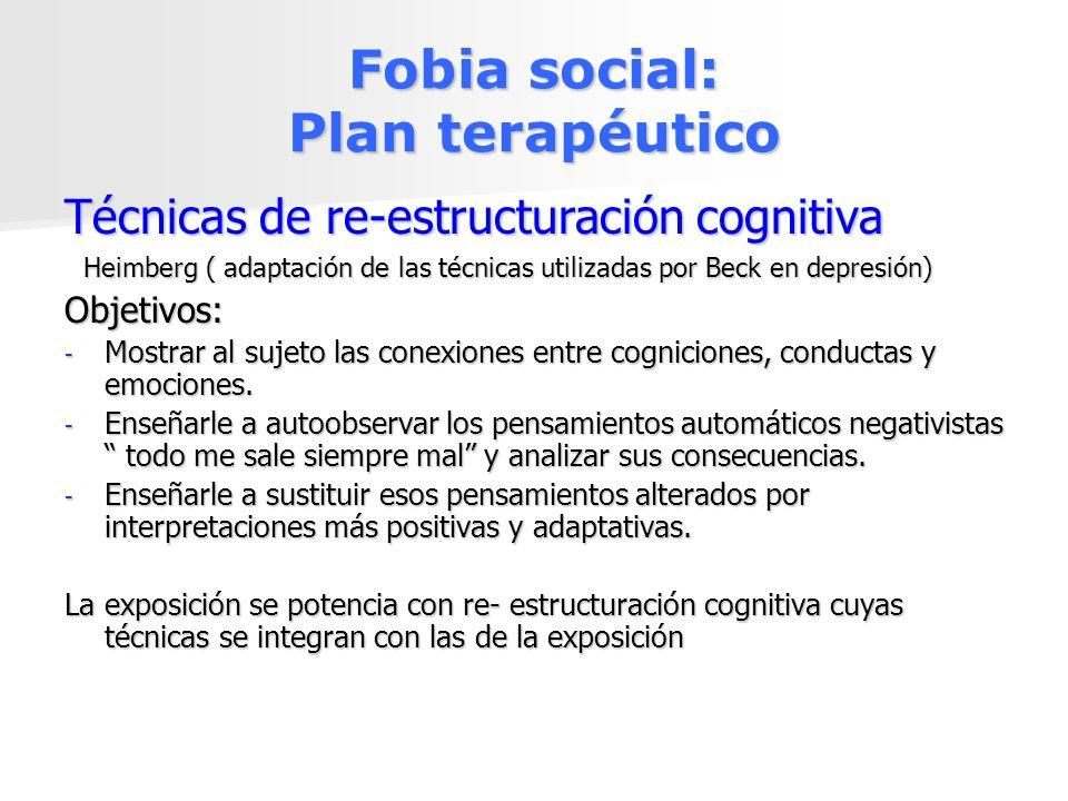 Fobia social: Plan terapéutico Técnicas de re-estructuración cognitiva Heimberg ( adaptación de las técnicas utilizadas por Beck en depresión) Heimber