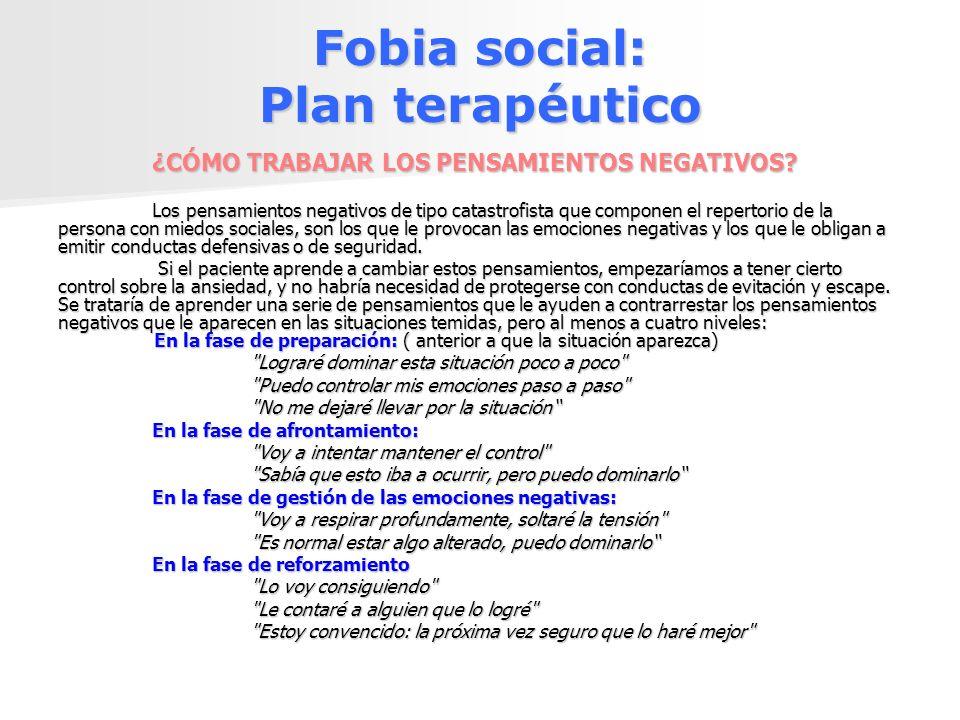 Fobia social: Plan terapéutico ¿CÓMO TRABAJAR LOS PENSAMIENTOS NEGATIVOS? Los pensamientos negativos de tipo catastrofista que componen el repertorio