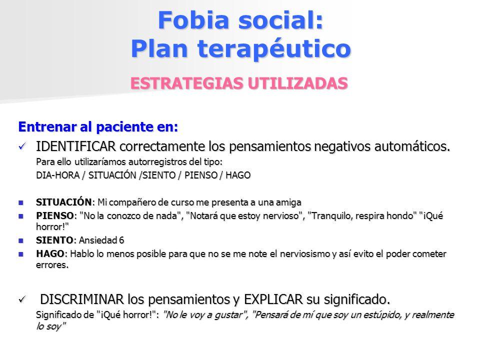 Fobia social: Plan terapéutico ESTRATEGIAS UTILIZADAS Entrenar al paciente en: IDENTIFICAR correctamente los pensamientos negativos automáticos. IDENT