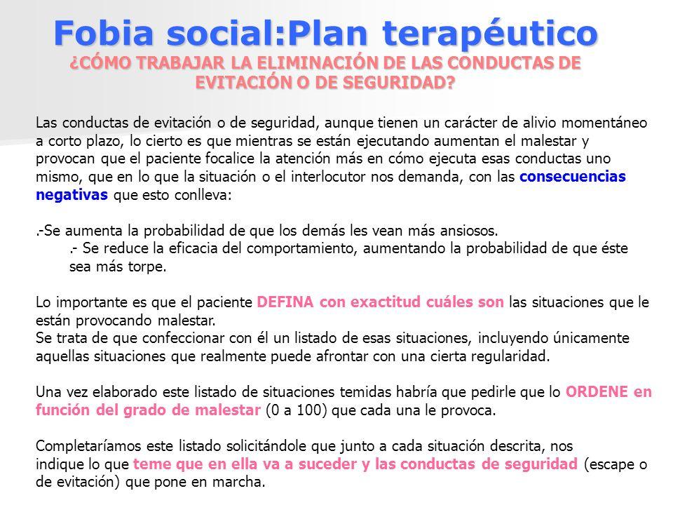 Fobia social:Plan terapéutico ¿CÓMO TRABAJAR LA ELIMINACIÓN DE LAS CONDUCTAS DE EVITACIÓN O DE SEGURIDAD? Las conductas de evitación o de seguridad, a