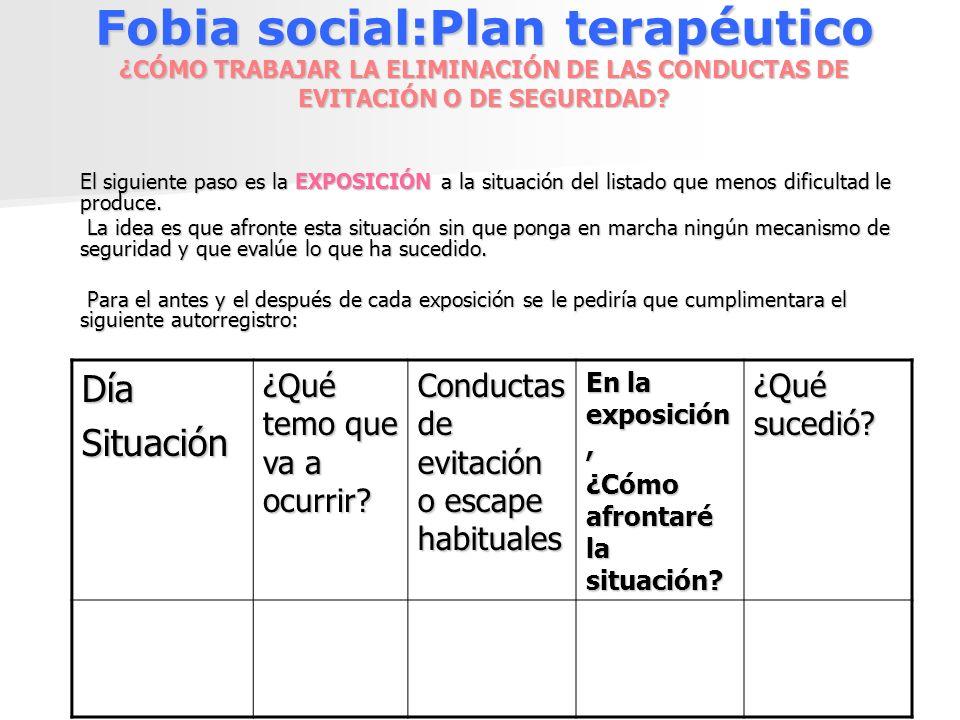 Fobia social:Plan terapéutico ¿CÓMO TRABAJAR LA ELIMINACIÓN DE LAS CONDUCTAS DE EVITACIÓN O DE SEGURIDAD? El siguiente paso es la EXPOSICIÓN a la situ