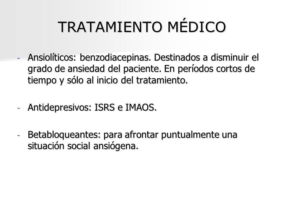 TRATAMIENTO MÉDICO - Ansiolíticos: benzodiacepinas. Destinados a disminuir el grado de ansiedad del paciente. En períodos cortos de tiempo y sólo al i