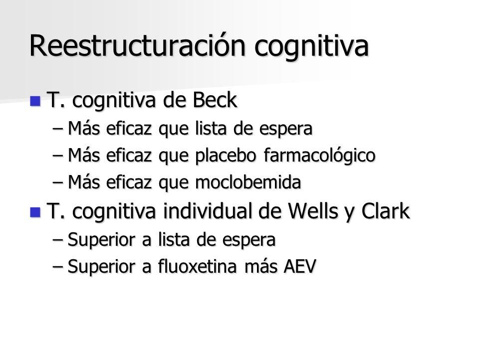 Reestructuración cognitiva T. cognitiva de Beck T. cognitiva de Beck –Más eficaz que lista de espera –Más eficaz que placebo farmacológico –Más eficaz