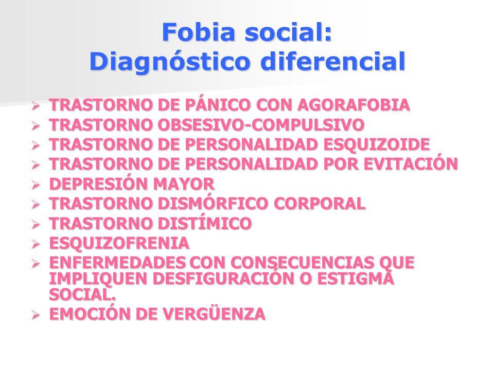 Fobia social: Diagnóstico diferencial TRASTORNO DE PÁNICO CON AGORAFOBIA TRASTORNO DE PÁNICO CON AGORAFOBIA TRASTORNO OBSESIVO-COMPULSIVO TRASTORNO OB