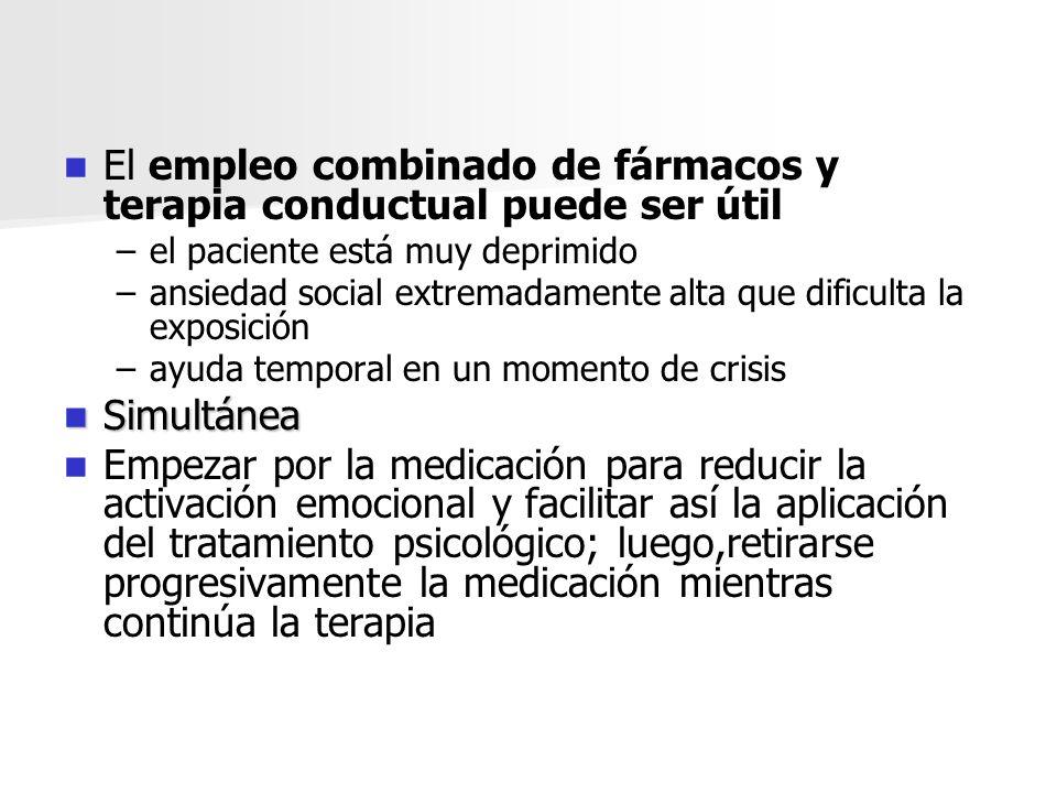 El empleo combinado de fármacos y terapia conductual puede ser útil – –el paciente está muy deprimido – –ansiedad social extremadamente alta que dific