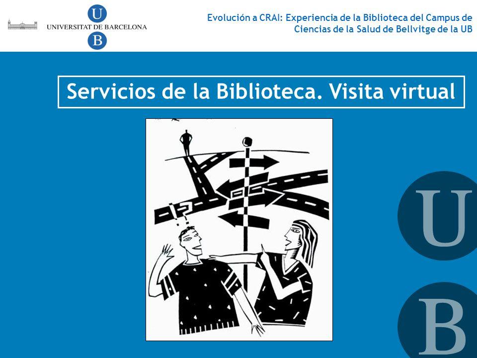Servicios de la Biblioteca. Visita virtual Evolución a CRAI: Experiencia de la Biblioteca del Campus de Ciencias de la Salud de Bellvitge de la UB