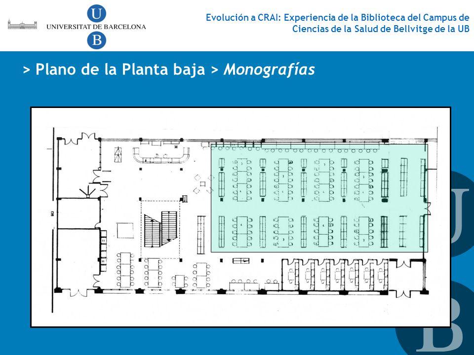 Evolución a CRAI: Experiencia de la Biblioteca del Campus de Ciencias de la Salud de Bellvitge de la UB > Plano de la Planta baja > Monografías