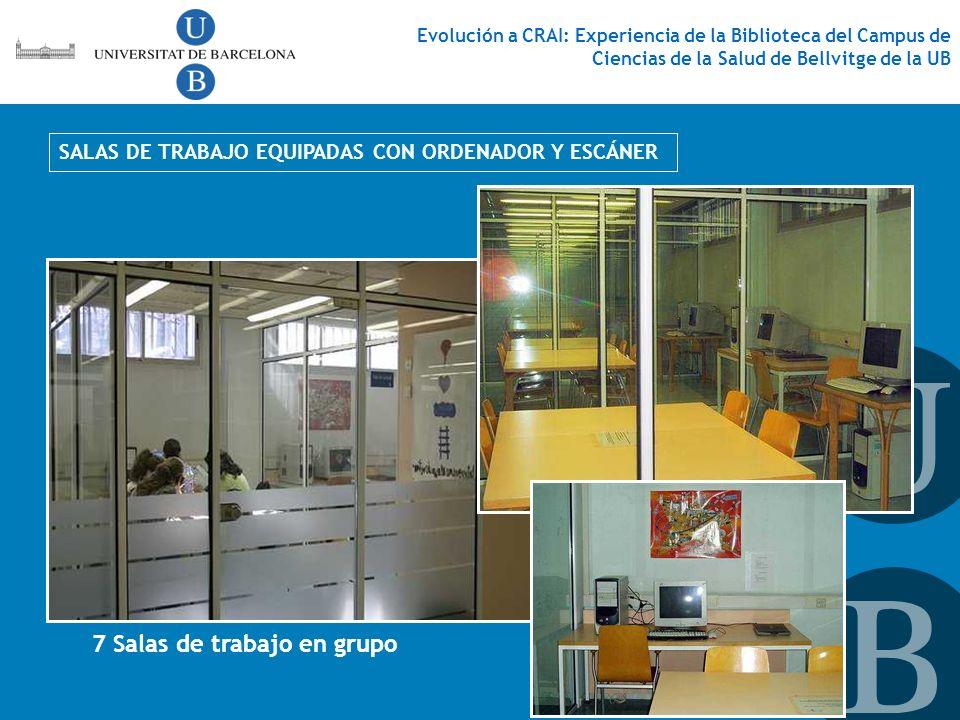 SALAS DE TRABAJO EQUIPADAS CON ORDENADOR Y ESCÁNER 7 Salas de trabajo en grupo Evolución a CRAI: Experiencia de la Biblioteca del Campus de Ciencias d