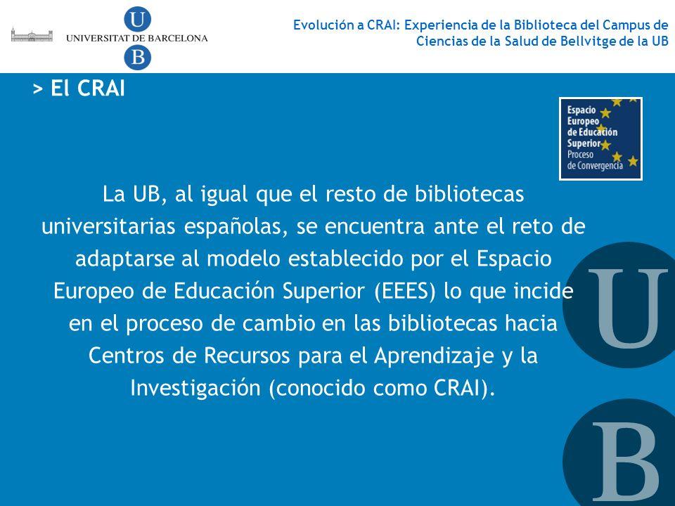 La UB, al igual que el resto de bibliotecas universitarias españolas, se encuentra ante el reto de adaptarse al modelo establecido por el Espacio Euro