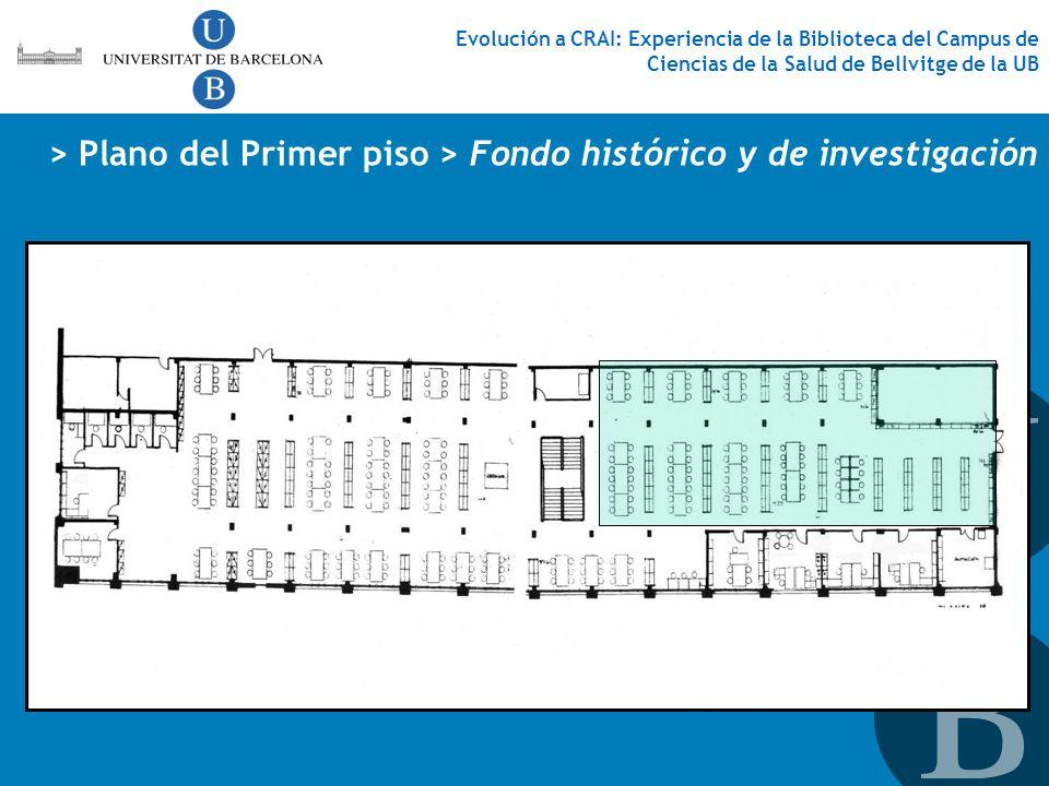 Evolución a CRAI: Experiencia de la Biblioteca del Campus de Ciencias de la Salud de Bellvitge de la UB > Plano del Primer piso > Fondo histórico y de