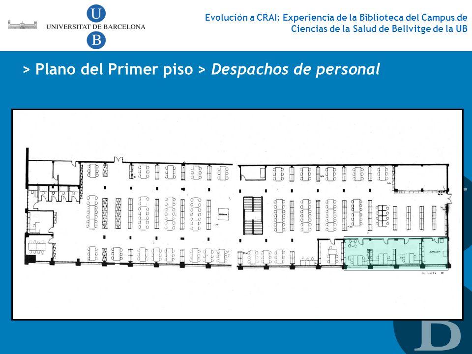 Evolución a CRAI: Experiencia de la Biblioteca del Campus de Ciencias de la Salud de Bellvitge de la UB > Plano del Primer piso > Despachos de persona
