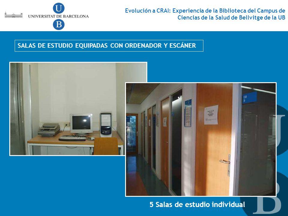 SALAS DE ESTUDIO EQUIPADAS CON ORDENADOR Y ESCÁNER 5 Salas de estudio individual Evolución a CRAI: Experiencia de la Biblioteca del Campus de Ciencias