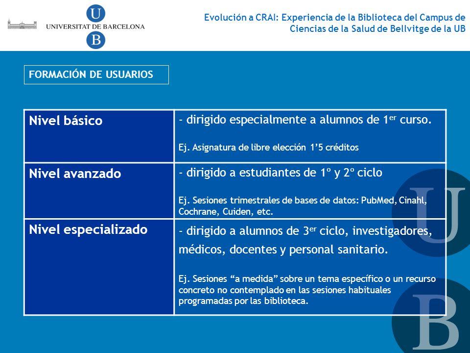 FORMACIÓN DE USUARIOS Nivel básico - dirigido especialmente a alumnos de 1 er curso. Ej. Asignatura de libre elección 15 créditos Nivel avanzado - dir