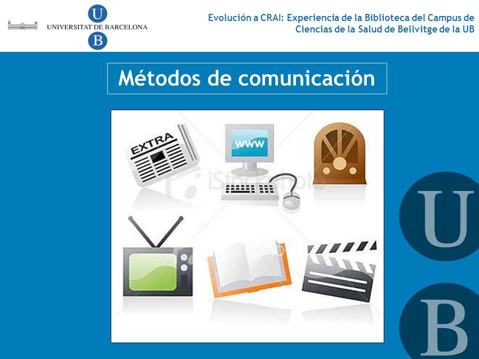 Métodos de comunicación Evolución a CRAI: Experiencia de la Biblioteca del Campus de Ciencias de la Salud de Bellvitge de la UB