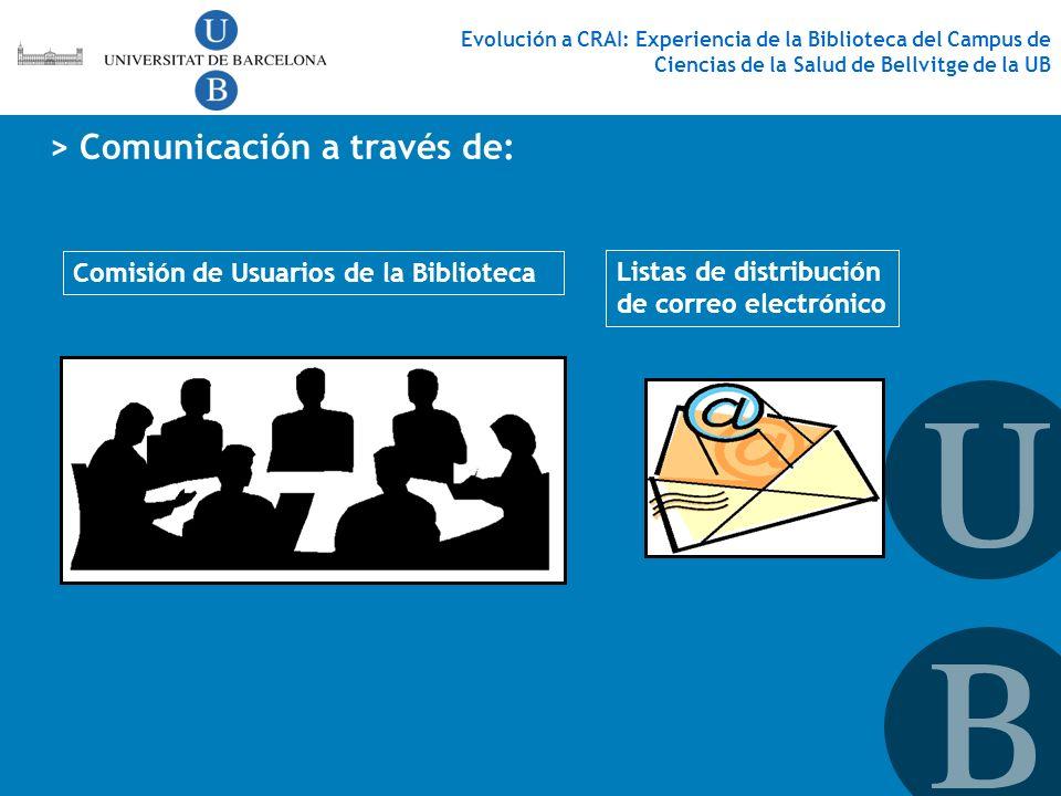 > Comunicación a través de: Comisión de Usuarios de la Biblioteca Listas de distribución de correo electrónico Evolución a CRAI: Experiencia de la Bib