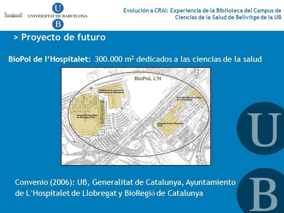 BioPol de lHospitalet:300.000 m 2 dedicados a las ciencias de la salud > Proyecto de futuro Evolución a CRAI: Experiencia de la Biblioteca del Campus