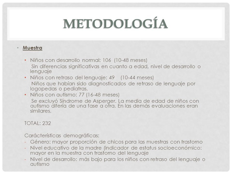 METODOLOGÍA Muestra Niños con desarrollo normal: 106 (10-48 meses) Sin diferencias significativas en cuanto a edad, nivel de desarrollo o lenguaje Niñ