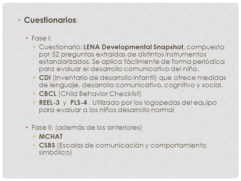 Cuestionarios : Fase I: Cuestionario: LENA Developmental Snapshot, compuesto por 52 preguntas extraídas de distintos instrumentos estandarizados. Se a