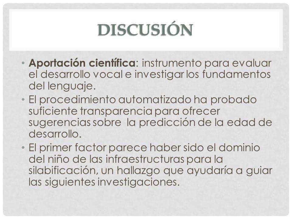 DISCUSIÓN Aportación científica : instrumento para evaluar el desarrollo vocal e investigar los fundamentos del lenguaje. El procedimiento automatizad