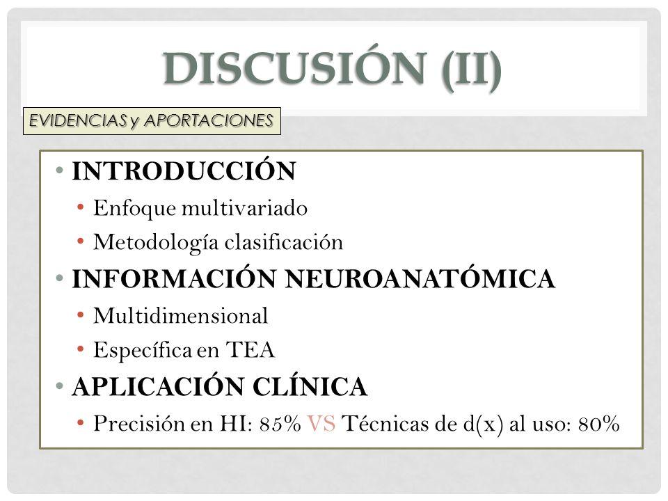 DISCUSIÓN (II) INTRODUCCIÓN Enfoque multivariado Metodología clasificación INFORMACIÓN NEUROANATÓMICA Multidimensional Específica en TEA APLICACIÓN CL
