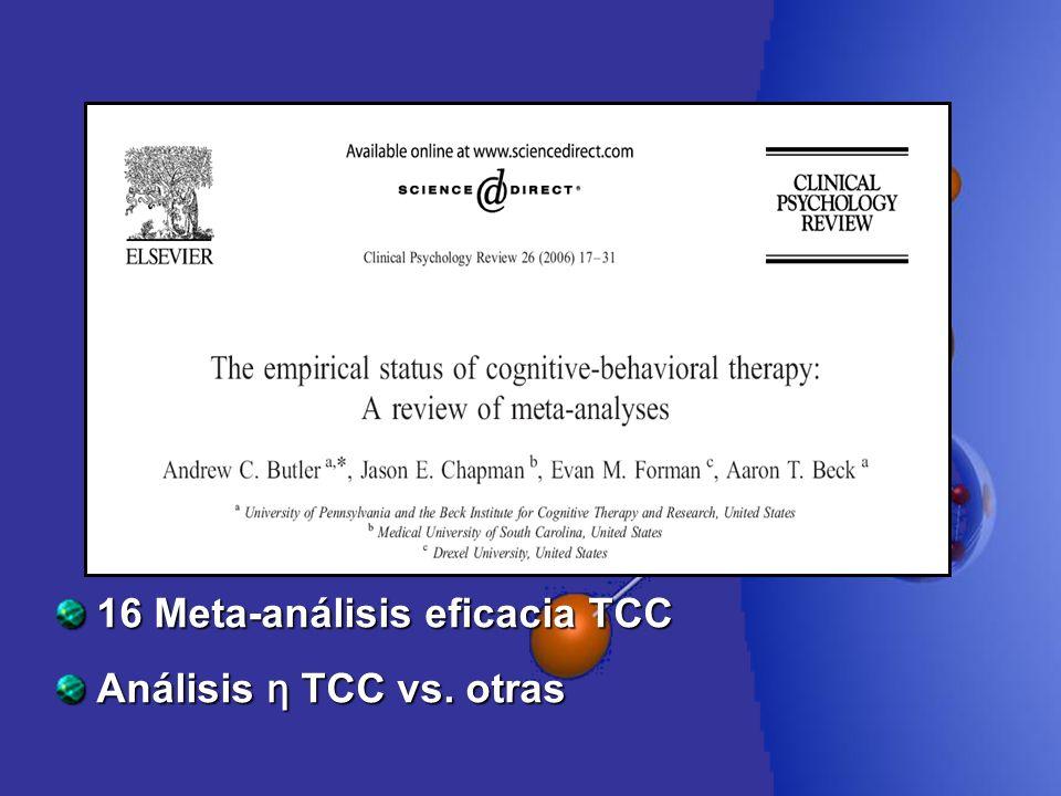16 Meta-análisis eficacia TCC Análisis η TCC vs. otras
