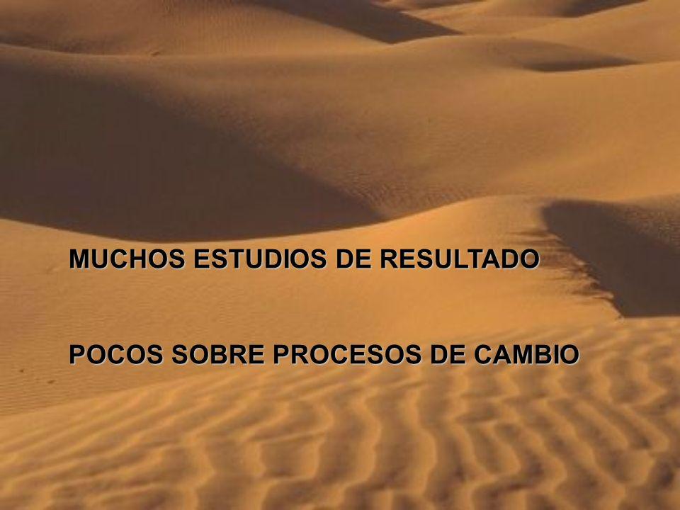 MUCHOS ESTUDIOS DE RESULTADO POCOS SOBRE PROCESOS DE CAMBIO