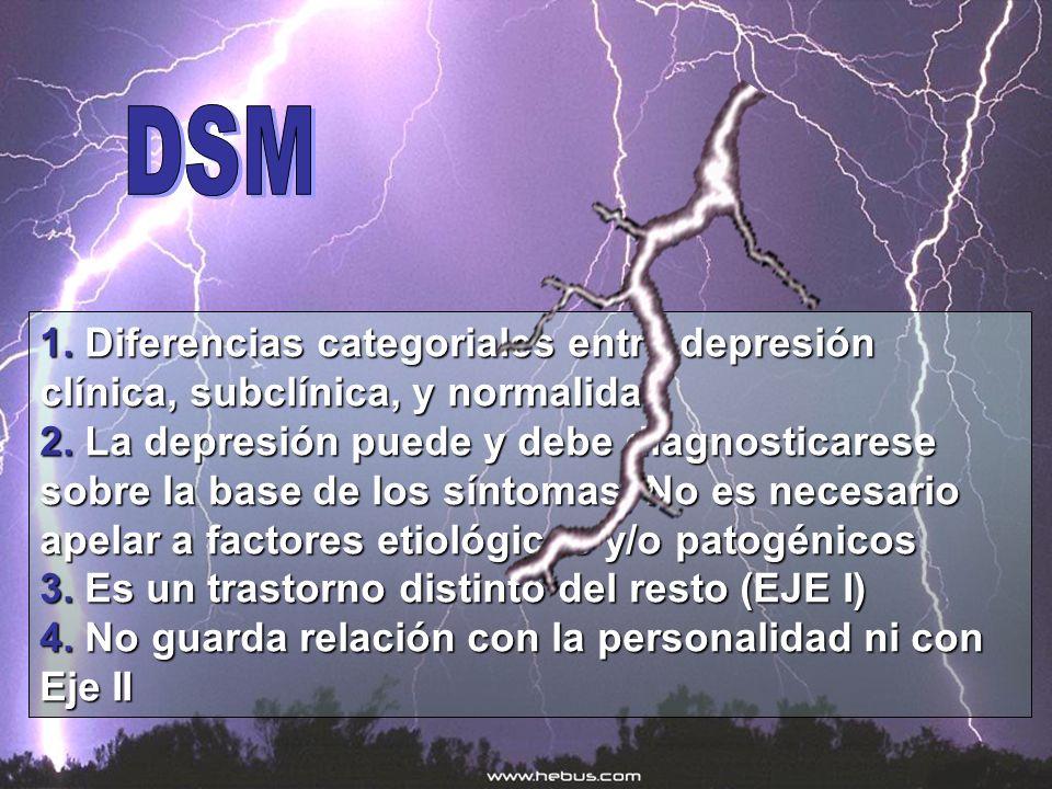 1. Diferencias categoriales entre depresión clínica, subclínica, y normalidad 2. La depresión puede y debe diagnosticarese sobre la base de los síntom