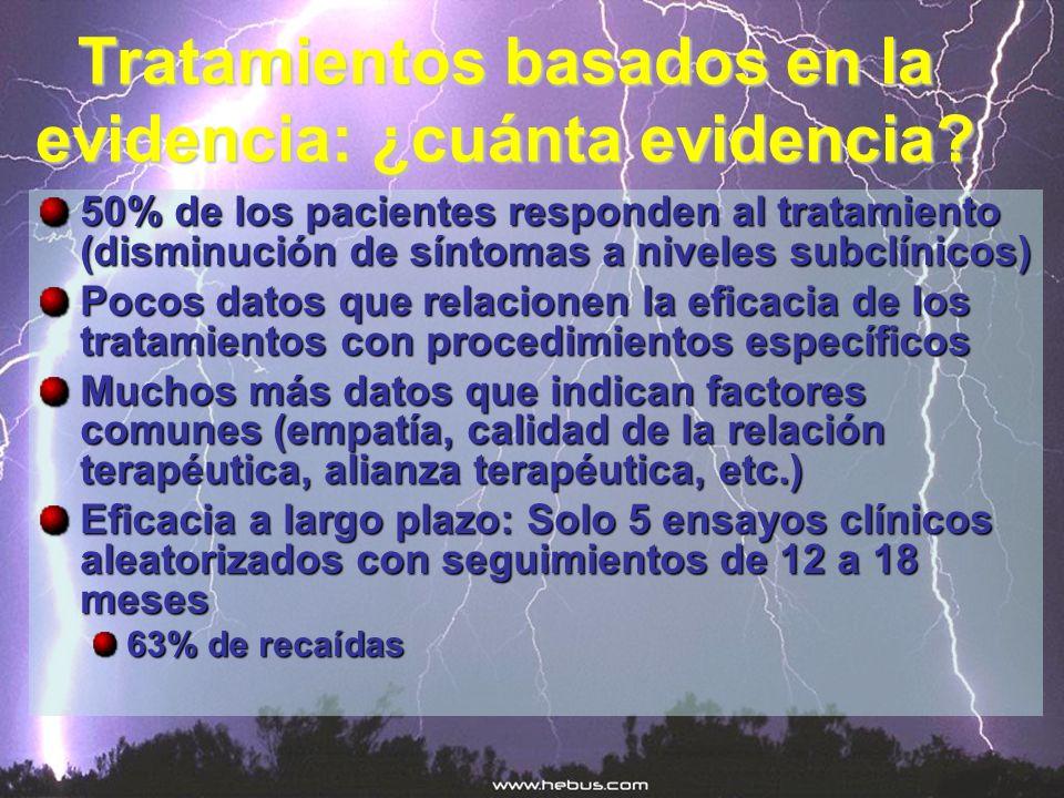 Tratamientos basados en la evidencia: ¿cuánta evidencia? 50% de los pacientes responden al tratamiento (disminución de síntomas a niveles subclínicos)