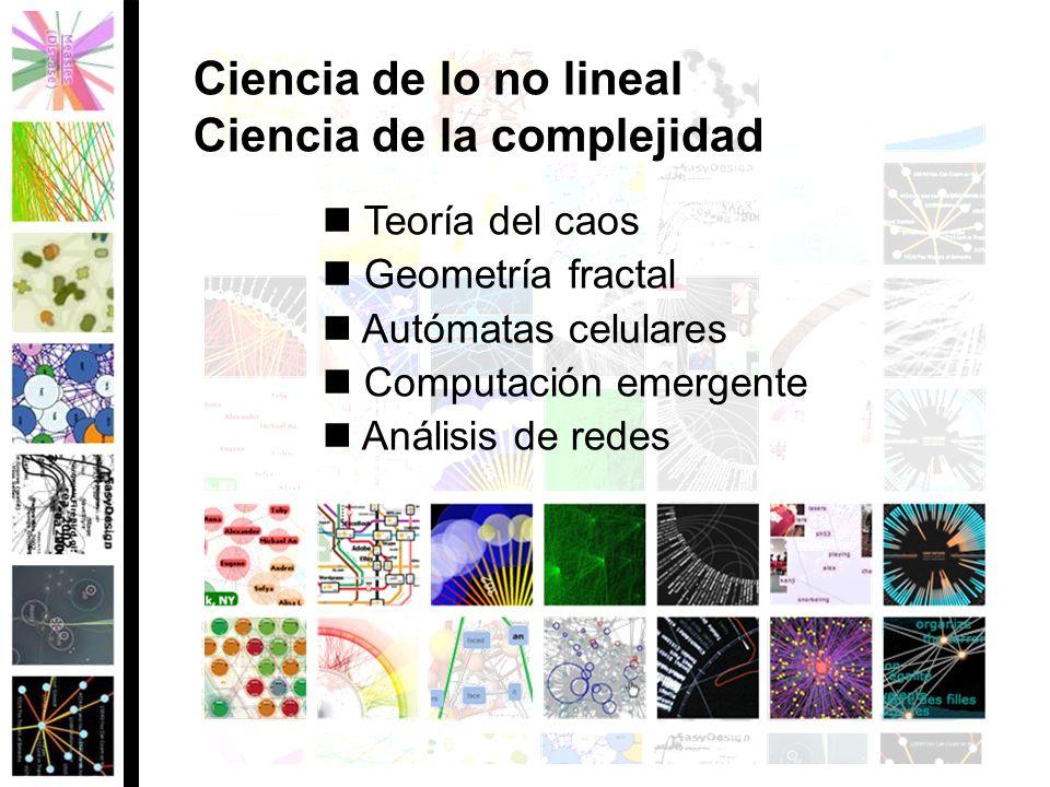 Teoría del caos Geometría fractal Autómatas celulares Computación emergente Análisis de redes Ciencia de lo no lineal Ciencia de la complejidad