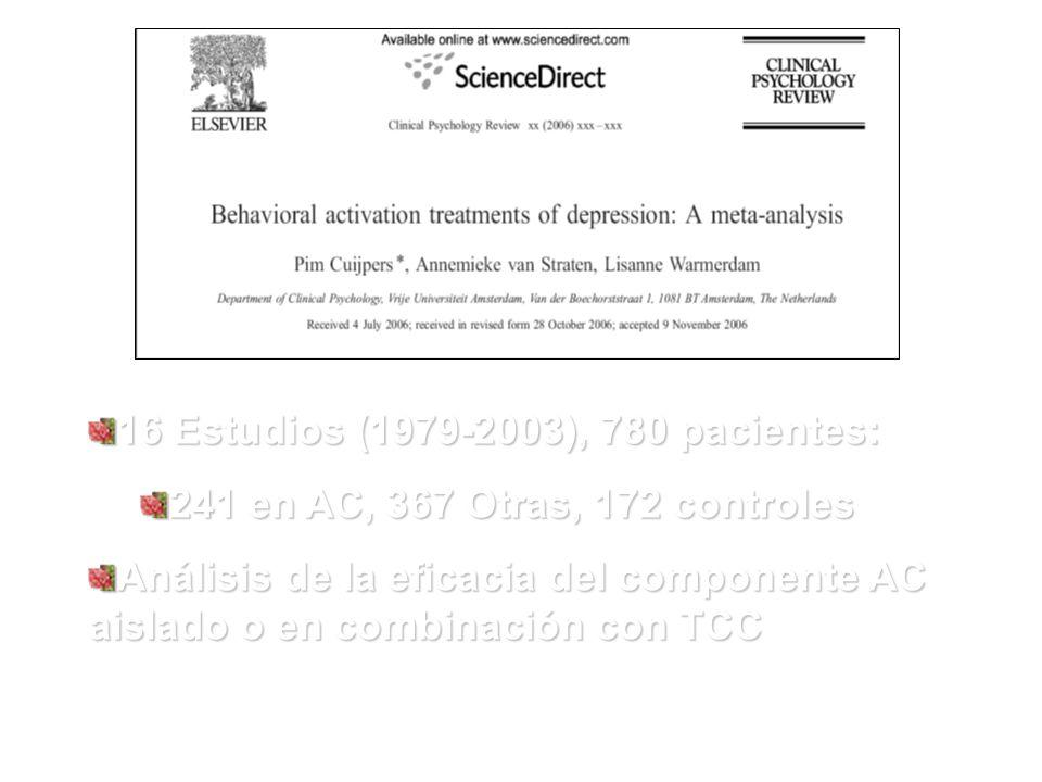 16 Estudios (1979-2003), 780 pacientes: 241 en AC, 367 Otras, 172 controles Análisis de la eficacia del componente AC aislado o en combinación con TCC
