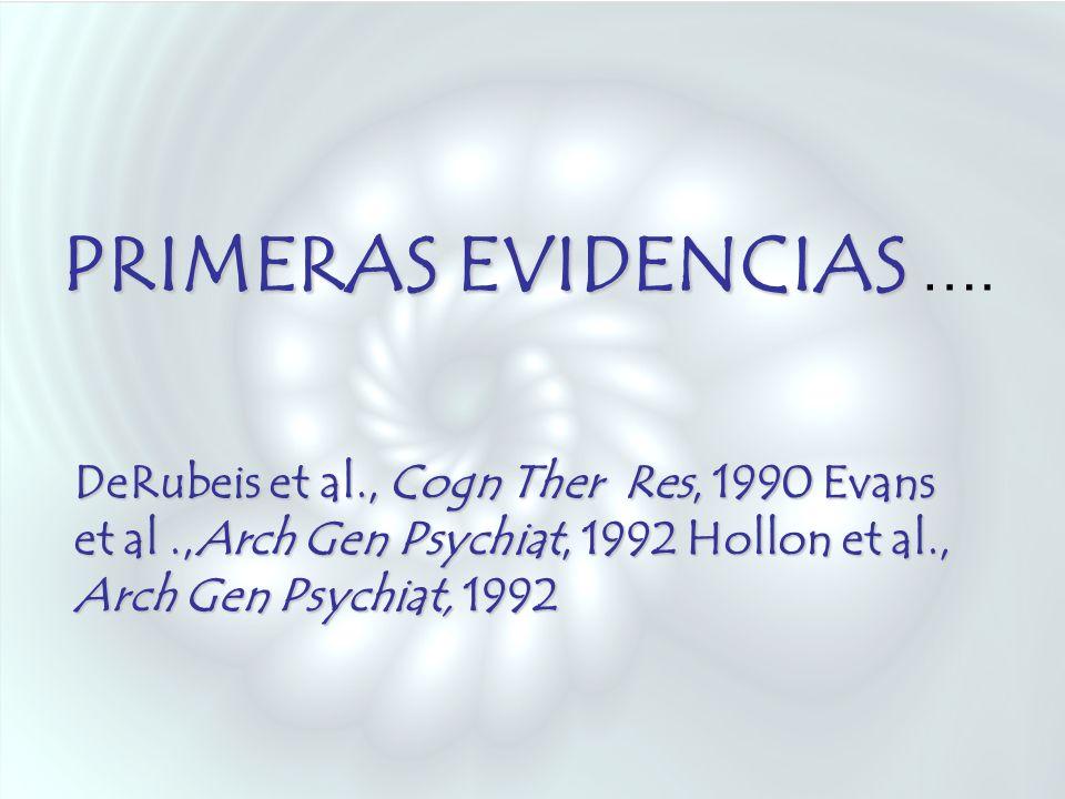 PRIMERAS EVIDENCIAS PRIMERAS EVIDENCIAS …. DeRubeis et al., Cogn Ther Res, 1990 Evans et al.,Arch Gen Psychiat, 1992 Hollon et al., Arch Gen Psychiat,
