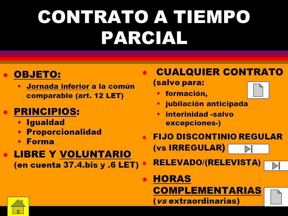 CONTRATO A TIEMPO PARCIAL l OBJETO: Jornada inferior a la común comparable (art. 12 LET) l PRINCIPIOS: Igualdad Proporcionalidad Forma l LIBRE Y VOLUN