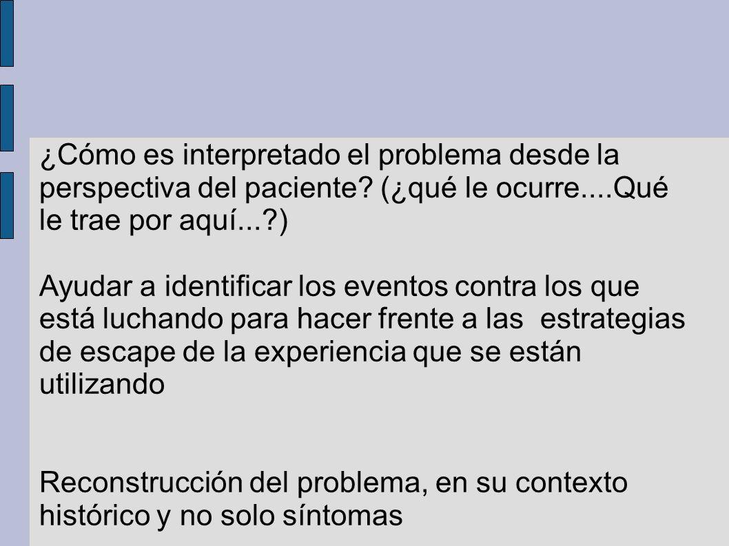 ¿Cómo es interpretado el problema desde la perspectiva del paciente? (¿qué le ocurre....Qué le trae por aquí...?) Ayudar a identificar los eventos con